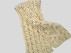 Birch Tree Scarf Creme Large Wide Scarf Wrap Shawl by CherylsKnits
