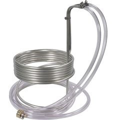 """Specifications 25' Stainless tubing 8' Vinyl Tubing Brass Faucet Adaptor 10"""" diameter 8"""" to the top coil 15"""" to the bend to go over the lip of the kettle Description: """"Cool your wort with a wort ch..."""