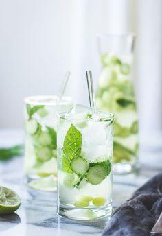 The Bojon Gourmet: Sangría Verde {with Vinho Verde, Cucumber, Melon, Mint, Basil + Lime} Prosecco Cocktails, Summer Cocktails, Cocktail Drinks, Cocktail Recipes, Cucumber Cocktail, Cucumber Water, Dinner Recipes, Refreshing Drinks, Fun Drinks