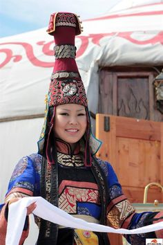 (Tuvan or Tyvan) Tuva girl in traditional dresses. Tubans Indigenous Turkic peoples of southern Siberia.