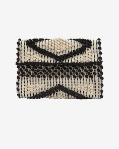 Antonello Foldover Cotton Clutch: Black/White | Shop IntermixOnline.com