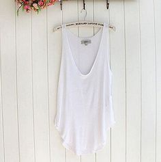 Vovotrade Fashion Summer Woman Lady Sleeveless V-Neck Candy Vest Loose Tank T-shirt (White)