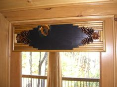 Black cornice board over door. Simple but elegant. Rustic Valances, Rustic Window Treatments, Cornice Boards, Birch Bark, Picture Frames, Entryway Tables, Windows, Doors, Simple