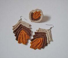crochet earrings and ring