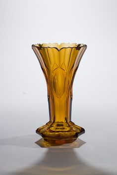 Moser amber crystal panel and notched rim cut vase