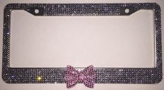 Grey Silver Rhinestone Bling License Plate Frame Cover, Woman car accessory, Pink Bling Rhinestone Bow, matching cap covers, True Grey Stone by Zusooz on Etsy