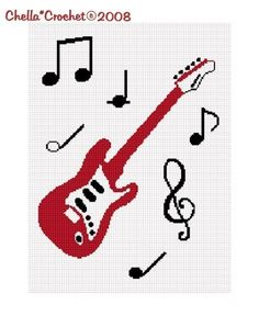 SALE see SHOP for details Chella Crochet Guitar and Musical Notes Scale Black Red White Afghan Crochet Pattern Graph Chart .PDF
