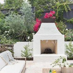 Alyssa Rosenheck: White Stucco Patio Fireplace