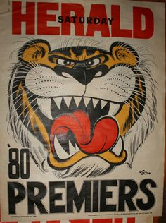 Weg Premiers Poster 1980 Richmond Tigers