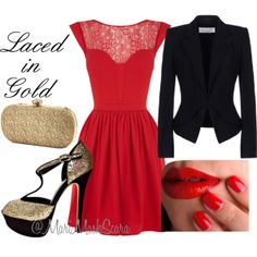 """""""Valentine's Day Look: Laced in Gold"""" by marimaskscara on Polyvore"""