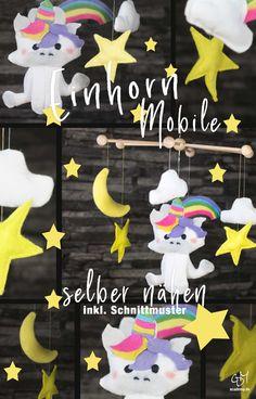 Dieses Einhorn Mobile ist, natürlich, für ein kleines Mädchen, das noch gar nicht auf der Welt ist. Das Baby kommt im Juli und wir sind schon gespannt, was sie zu dem Einhorn Mobile sagen wird.