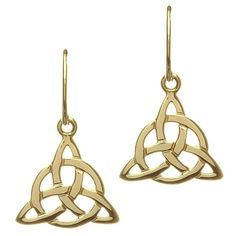 These intricate Celtic Knots are a must have for anyone who harbors a love of Celtic lore in their heart. The 10 karat gold earrings sport the beautiful Triquetra, or Trinity Knot, but are made even more lovely by the weaving of a perfect circle through the ends of the knot.A Knotted Sun?The famous Celtic Cross sports a cross haloed with a circle that is said to represent the sun. ?It was a merging of Christianity and Paganism into a more harmonious whole. With these earrings, you can carry…