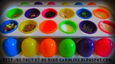 De tout et de rien: Activités pour le Préscolaire: Guess what's inside: Sound shakers with plastic eggs - Devine ce qu'il y à l'intérieur: Oeufs sonores pour explorer le sens de l'ouïe