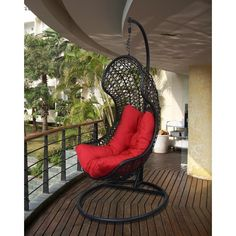 Bellini Home and Garden Nickel Resort Outdooe/Indoor Hanging Chair Wicker Dining Set, Wicker Patio Furniture, Wicker Table, Wicker Chairs, Red Cushions, Patio Seating, Bellini, Hanging Chair, Decks