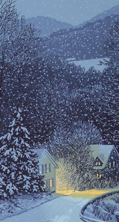 This is my ideal winterscape: a warm shelter in falling snow at the edge of the forest. Illustration by William Hays linocut Illustration Noel, Illustrations, Winter Illustration, Linocut Prints, Art Prints, Block Prints, Canvas Prints, Winter Szenen, Winter Trees
