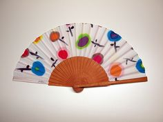 Hand fan Handpainted Silk- Abanico-Wedding gift-Giveaways-Bridesmaids- Spanish hand fan - Circles Hand Fan 17 x 9 inches cm x 23 cm) de gilbea en Etsy Painted Fan, Painted Silk, Hand Painted, Watercolor Bookmarks, X 23, Japan Art, Silk Painting, Painting Inspiration, Leather Case