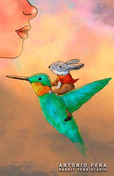 """Huitzil"" Ilustración por: Antonio Peña / Rabbit Peña Illustration  #illustration #design #art"