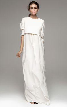 Long Sleeved Floor Length White Dress by Kalmanovich for Preorder on Moda Operandi