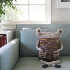craft ideas hand made knitted beast pillow bed