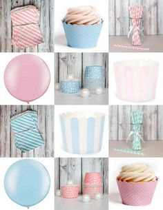 gender reveal party supplies pink and blue