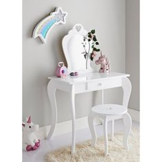 French inspired design featuring gently curved legs and a heart cut out detail. Amelia Vanity Set will look great in any girls bedroom. Kids Dressing Table, Dressing Table With Mirror And Stool, White Dressing Tables, Kids Vanity Set, Vanity Table Set, Armoire Rose, Kids Bedroom Furniture, Amelia, Kid Beds