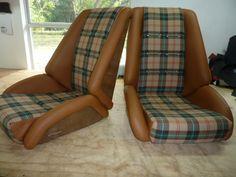 GranTurismo seats ( reproduction of the Recaro Rallye II ) in fiberglass amber look,leather w Canadian tartan.Custom seats by GTSclassics