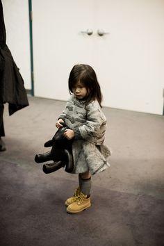 Alexander Wang's niece Aila backstage at Alexander Wang AW13