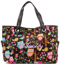 Monogrammed Owl Print Diaper Bag Free Shipping in the United States