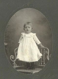 CABINET PHOTO HANDSOME LITTLE BOY STANDING ON CHAIR IN WHITE GOWN LANCASTER PA