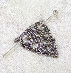 Argent celtique châle Pin Celtic foulard broche barrette