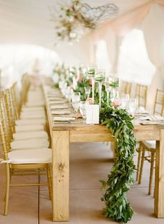 A long table-length garland steals the show without being too fussy.