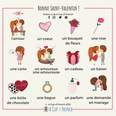 It's Valentine's Day today! In French we say: la Saint-Valentin. With this infographic you'll learn a few words about love in French. L'amour... ?