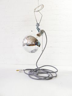 Giant Silver Bowl Clamp Light with Zig Zag Cord