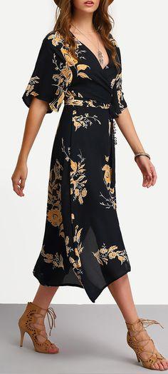 V Neck Florals Wrap Dress.