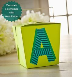 Decorate a $1 take out carton with washi tape! Makes a great party favor or gift box.