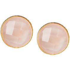 Saachi 18K Gold Clad Rose Quartz Stud Earrings found on Polyvore