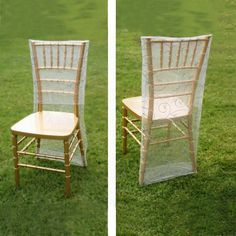 White Organza Chiavari Chair Covers | Chair Slipcovers with Satin Embroidery Folding Chair Covers, Chair Back Covers, Banquet Chair Covers, Chair Bows, Chair Sashes, Party Chairs, Table And Chairs, Christmas In July Decorations, Chiavari Chairs