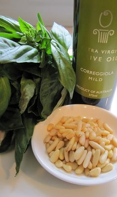 Vegan Pesto all year round    Ingredients:        2 cups fresh basil leaves      1 clove garlic, minced      1/3 cup extra virgin olive oil      salt and pepper, to taste      1/2 cup pine nuts, lightly toasted      2 tsp lemon juice