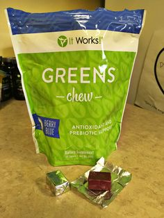 Greens Chew - healthy snack with the antioxidant strength of 20 cartons of blueberries!!!  Yum!!