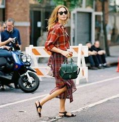 I love the mixed plaids. Nice personal style.