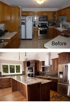 Kitchen, Pictures of kitchen remodels before and after mahogany cabinet brown brick tile backsplash white range hood white granite countertop free standing kitchen island double built in oven: Kitchen Remodeling Before and After