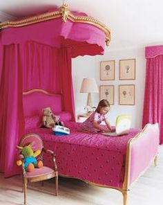 rad hot pink canopy bed girl room