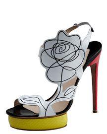 Nicholas Kirkwood Scribble-Flower Colorblock Sandal