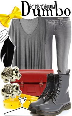 "Love the gray with the pops of red and yellow in this ""Dumbo"" inspired Disneybound outfit!! ♥"