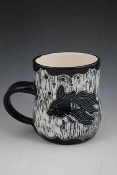 Sgraffito Goldfish Mug (Porcelain). via Etsy.