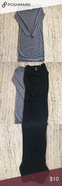 Black and grey bodycon dresses From target. Black and heathered grey body con dresses. Wore them during my pregnancy and post baby. Very flattering for. Black one has minor pilling on left hip Mossimo Supply Co Dresses Midi