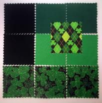 "80 5"" SHAMROCK FABRIC CHARM SQUARES FOR QUILTING, SEWING, ST PATRICKS DAY CRAFTS RARE OUT OF PRINT"