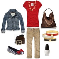 Cute top and jean jacket. Not crazy about the shoes. I need a chocolate bag but ummmm not this one:( way too much.