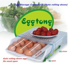 Egg Storage Containers Auto Rolling Down Refrigerator Saving Space Korea | eBay