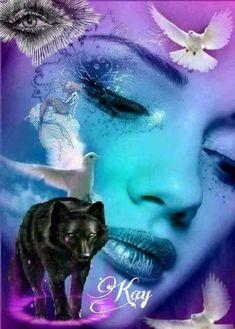 Fantasy Wolf, Fantasy Art, Photo Illustration, Digital Illustration, Watercolor Deer, Wolves And Women, Spiritual Animal, Girl Empowerment, Beautiful Wolves